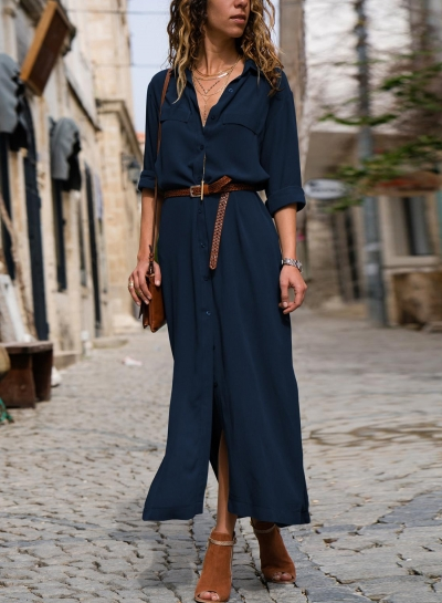 Casual Long Sleeve Loose Button Down Maxi Dress With Pockets