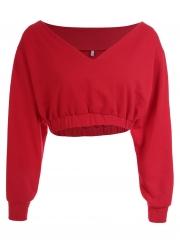 435c356d26c ... Red Sexy Off Shoulder Long Sleeve Crop Top Solid Color Sweatshirt ...