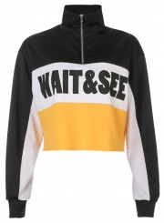 Yellow Casual Letters Print Long Sleeve Crop Top Loose Sweatshirt