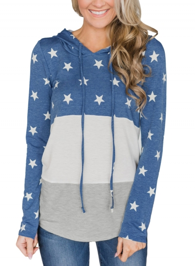 Navy Casual Starry Color Block Long Sleeve Loose Hoodie
