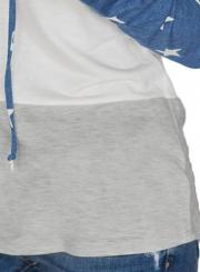 Navy Casual Starry Color Block Long Sleeve Loose Hoodie