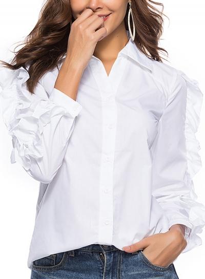 White Turn-Down Collar Long Sleeve Slim Ruffle Button Down Shirt