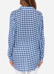 ad8cc5e7 ... Summer Turn-Down Collar Long Sleeve Plaid Button Down Shirt ...