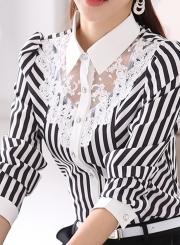Striped Long Sleeve Turn-Down Collar Slim Lace Button Down Shirt
