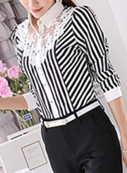3f7a93bf7 ... Striped Long Sleeve Turn-Down Collar Slim Lace Button Down Shirt ...