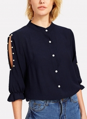 Half Sleeve Solid Color Button Down Shirt With Beading