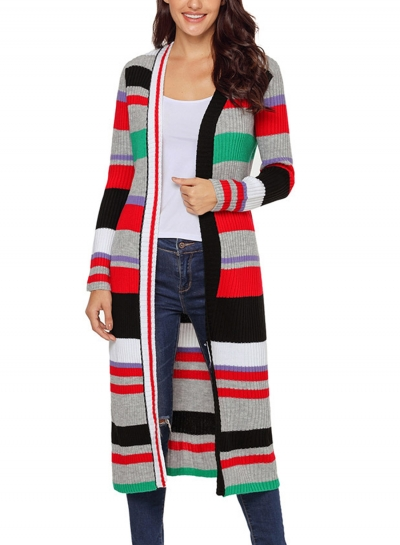 Green Casual Striped Long Sleeve Open Front Slim Long Cardigan