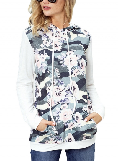 White Casual Floral Print Long Sleeve Color Block Loose Hoodie With Pocket