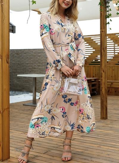 Khaki Floral Print V Neck Long Sleeve A-line Vocation Maxi Dress With Belt