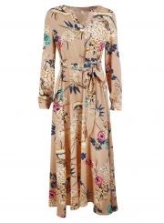 5f8ed9829eb ... Khaki Floral Print V Neck Long Sleeve A-line Vocation Maxi Dress With  Belt ...