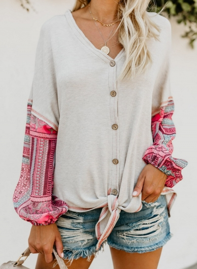 White Chiffon Printed V Neck Long Sleeve Knot Loose Button Down Knit Shirt