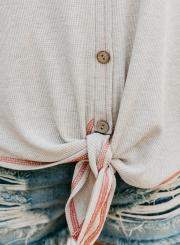 4d79dea3 ... White Chiffon Printed V Neck Long Sleeve Knot Loose Button Down Knit  Shirt ...