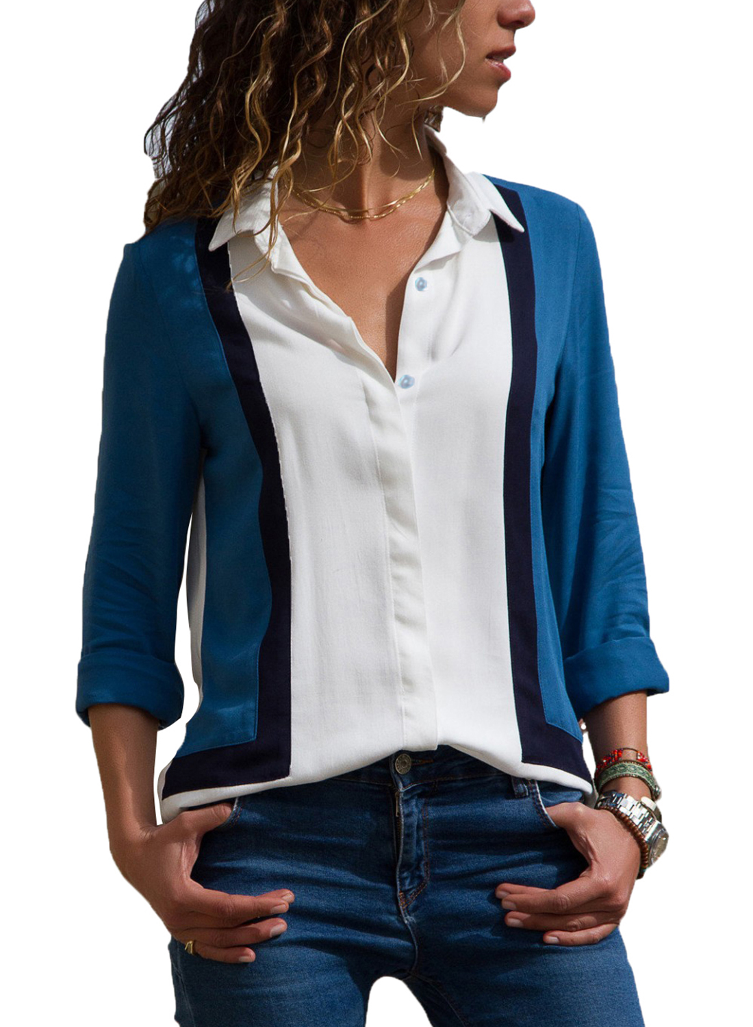81f1b0152cc Womens White Long Sleeve Button Down Collar Shirt