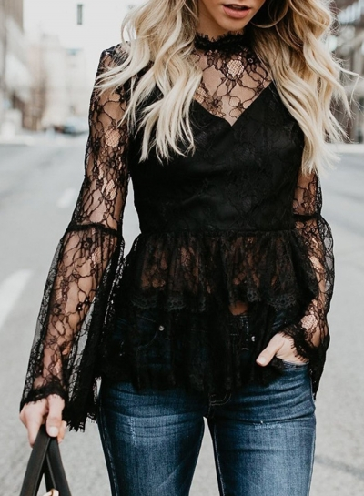 Round Neck Flare Sleeve Back Zip Loose Lace Blouse