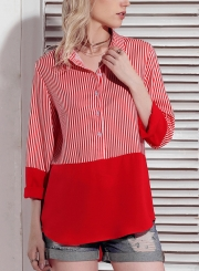 8efd0622 ... Red Women's Striped Long Sleeve Turn-Down Collar Button Down Shirt ...