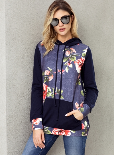 Navy Casual Floral Print Long Sleeve Color Block Loose Hoodie With Pocket