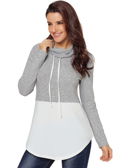White Women's High Neck Long Sleeve Color Block Loose Pullover Sweatshirt