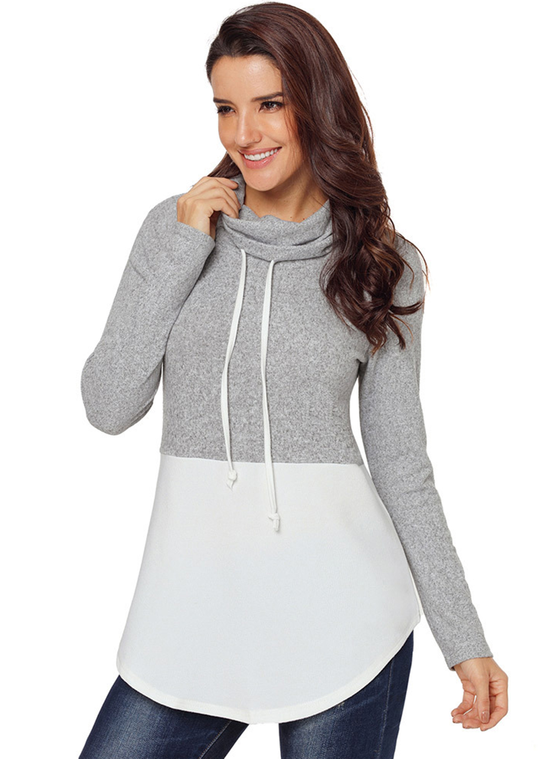 White Women s High Neck Long Sleeve Color Block Loose Pullover Sweatshirt  STYLESIMO.com. Loading zoom 01af61b3d6
