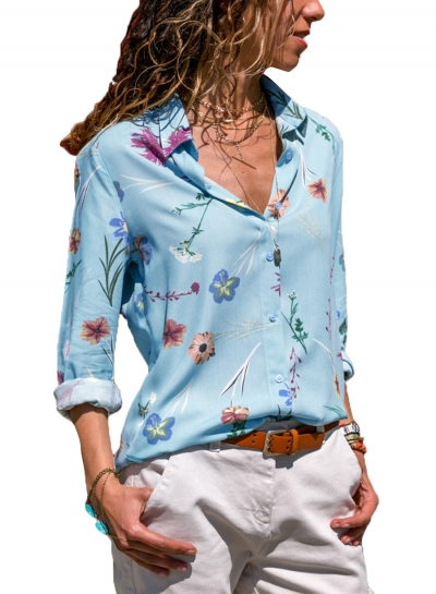 Light Blue Women's Floral Print Long Sleeve Turn-Down Collar Loose Button Down Shirt