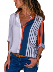 Orange Women's Striped Long Sleeve Turn-Down Collar Loose Button Down Shirt
