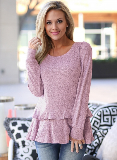 Pink Long Sleeve Round Neck Ruffle Hem Loose Solid Color Knitwear