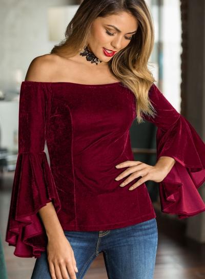 Burgundy Women's Off Shoulder Flare Sleeve Slim Solid Color Pullover Blouse