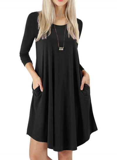 Round Neck Long Sleeves A-line Casual Dress With Pocket