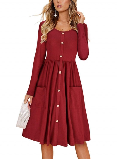 Long Sleeve Casual Button Down Loose Swing Dress With Pockets