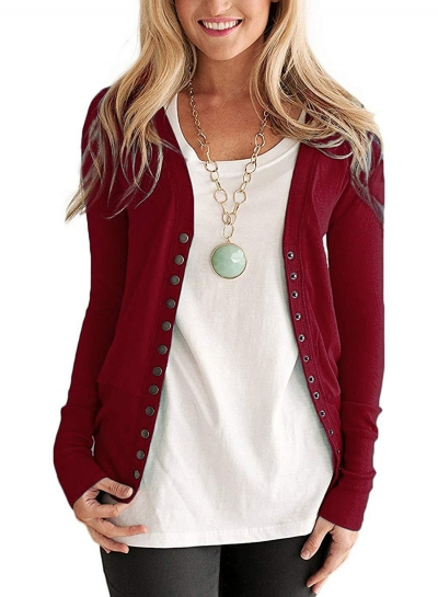 Casual V Neck Long Sleeve Slim Solid Color Button Down Cardigan