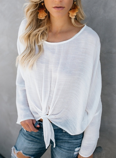 White Round Neck Long Sleeve Bow Tie Loose Pullover Blouse