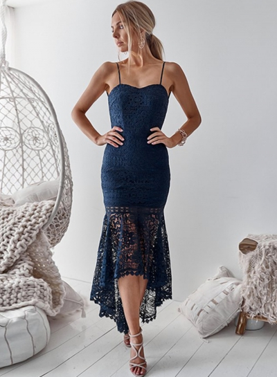 Summer Spaghetti Strap Backless High Low Lace Bodycon Party Dress