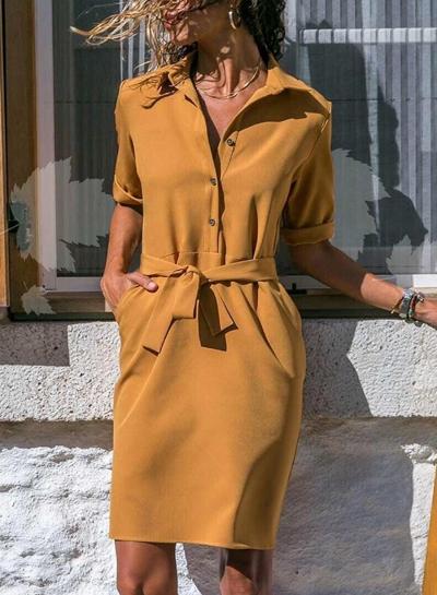 Turn-Down Collar Half Sleeve Waist Tie Button Down Dress With Pockets