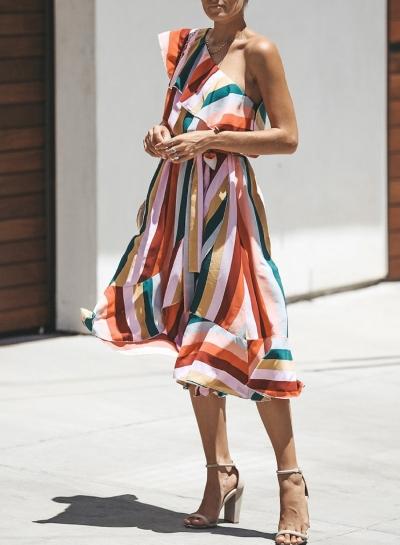 Casual Striped One Off Shoulder Sleeveless Ruffle Irregular Midi Dress