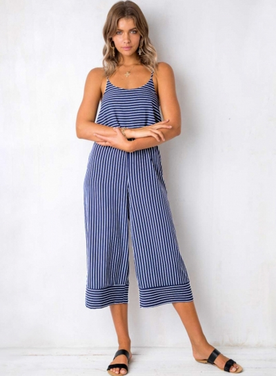 33d9fefff2fb Blue Striped Spaghetti Strap Round Neck Backless Wide Leg Jumpsuit