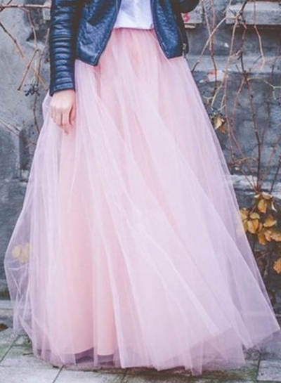 Pink Tiered Layered Mesh Tulle Maxi Skirt