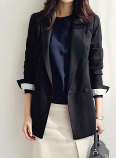 Black Casual Long Sleeve Turn-Down Collar Slim Solid Pockets Suit Blazer