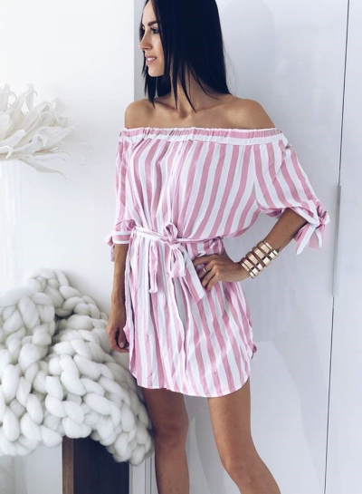 Pink Summer Striped Off Shoulder Half Sleeve Mini Dress