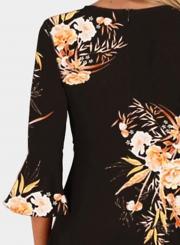 Black Fashion Sexy Floral Printed Flare Sleeve V Neck High Waist Midi Dress