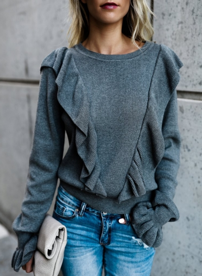 Casual Long Sleeve Paneled Ruffle Sweater