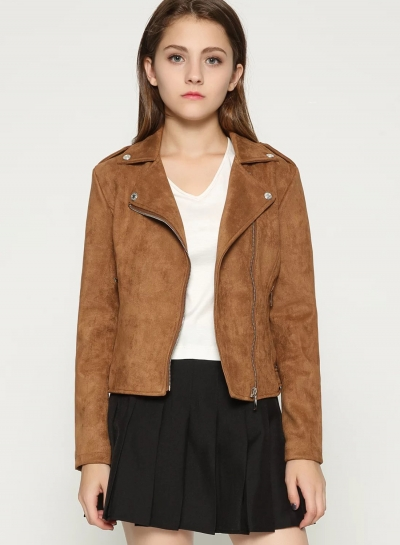 Short Soft Zip up Faux Suede Biker Moto Jacket