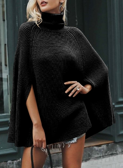 Turtleneck Chunky Sweater Cloak