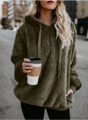 Casual Long Sleeve Loose Sweatshirt Hooded With Pockets