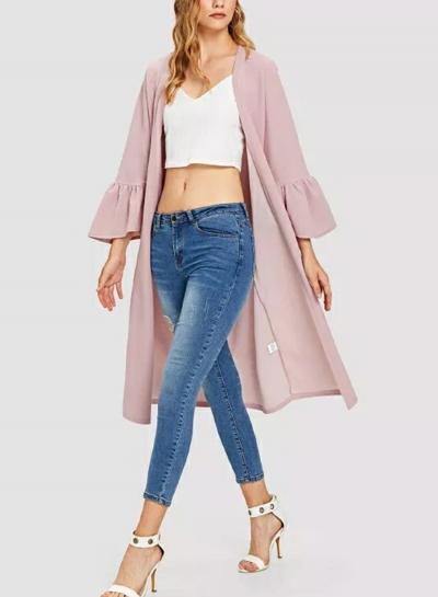 Pink Fashion Simple Long Sleeve Cardigan Coat