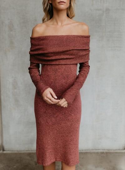 Orange Women's Off Shoulder Bodycon Long Sleeve Sweater Midi Dress
