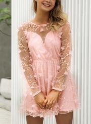 Pink Sexy Chiffon Embroidered Round Neck Long Sleeve Mesh Mini Dress
