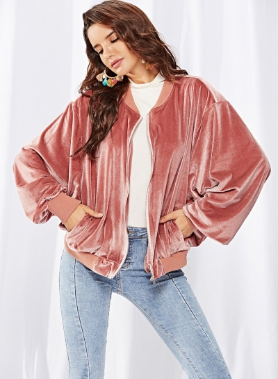 Velvet zipper long-sleeved jacket