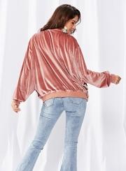 Velvet zipper long-sleeved jacket