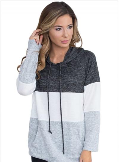 Color Block Casual Long Sleeve Hoodie Pullover Sweatshirts Tops