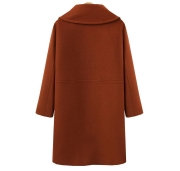 Winter Loose Warm Long Sleeve Turn-down Collar Button Woolen Jacket