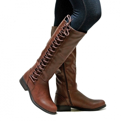Leatherette Lace-Up Straight Boots STYLESIMO.com